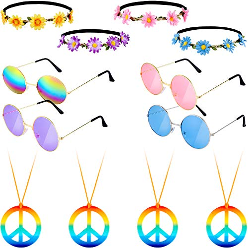 12 Pieces Hippie Dressing Accessory Set Includes 4 Pairs 60's Circle Colored Glasses 4 Pieces Sunflower Crown Headband 4 Pieces Rainbow Peace Necklace for Party Favor]()