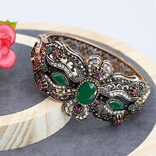 Nattaphol Vintage Flower Bangle for Women Ethnic Indian Cuff Bracelet Antique Gold Color Resin Arabesquitic Jewelry Gift 2018 New -