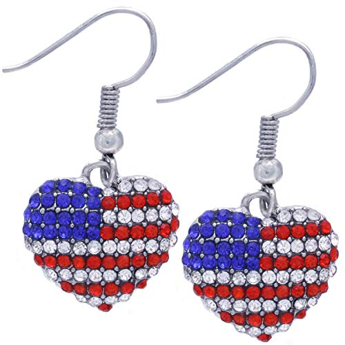 (SoulBreeze I Love USA American Flag Heart Earrings Dangle 4th of July Independence Day Gift for Mom (Styl 3))