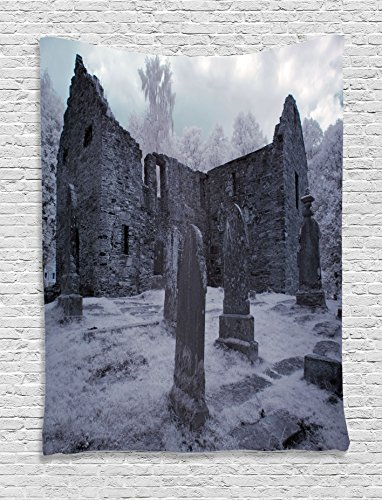 Ambesonne Gothic Decor Collection, Old Gothic Cemetery Church Tomb and Tombstone Mysticism Spooky Forest Style, Bedroom Living Room Dorm Wall Hanging Tapestry, Cloudy Grey