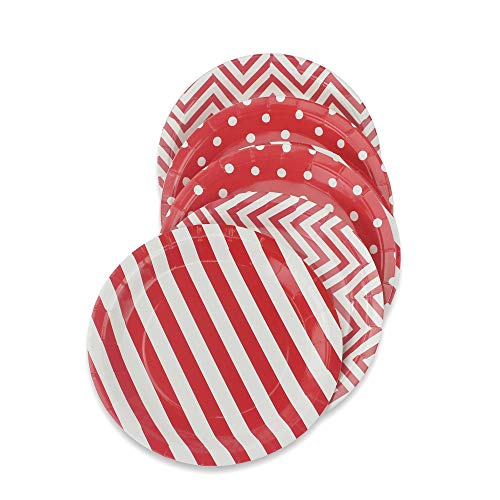 Polka Dot Tea Plates - Red Party Paper Plates 36pcs - 9inch Biodegradable Round Plates Polka Dot Stripe Chevron for Cakes, Dessert, Snack, Fruits
