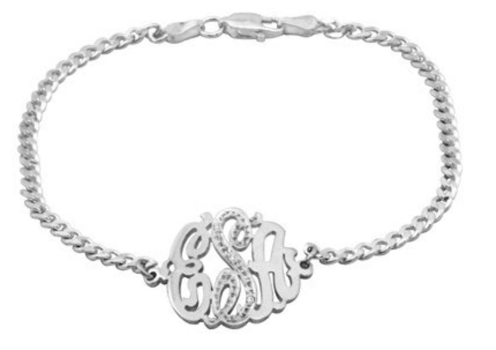 Monogram Diamond Bracelet Personalized 20mm Sterling Silver or Yellow Gold Plated Silver