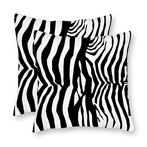 (DKISEE Set of 2 Abstract Zebra-Skin-Print-Pattern Square Throw Pillow Cover Canvas Pillow Case Sofa Couch Chair Cushion Cover or Home Decor)
