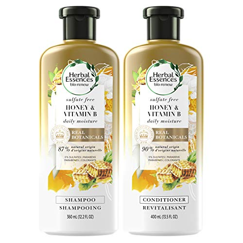 Herbal Essences Shampoo and Sulfate Free Conditioner Kit, BioRenew Honey & Vitamin B, Safe For Color Treated Hair, 13.5 & 12.2 fl oz, Kit