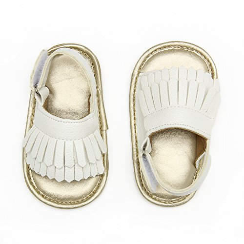 Baby Sandal Tassels Summer Lace-up Toddler Gladiator Shoes 0 6 12 18 Months (13cm Sole(12-18 Months), White Tassels)