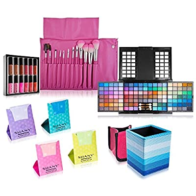 SHANY Holiday Exclusive All in One Makeup Set - Includes 15PC Makeup Brush Set, Eyeshadow Palette Makeup Set, 12PC Lipgloss Set, Cosmetics Brush Holder & Skin Care - Limited Quantities - COLORS VARY