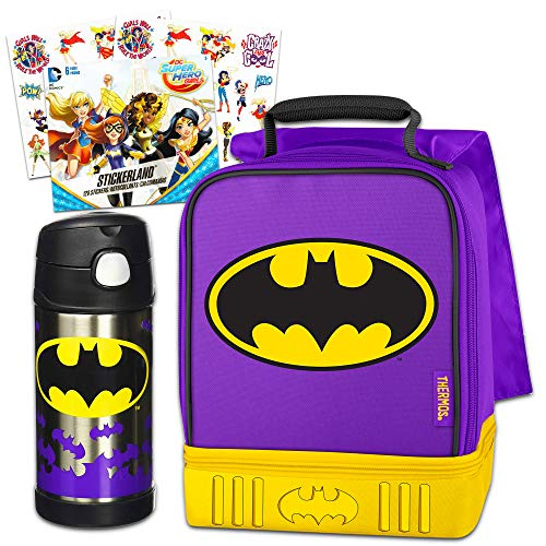 DC Batgirl Thermos Lunch Box and Funtainer Set for Kids - Dual Compartment Insulated Batgirl Lunch Box, Funtainer Water Bottle, Superhero Girls -