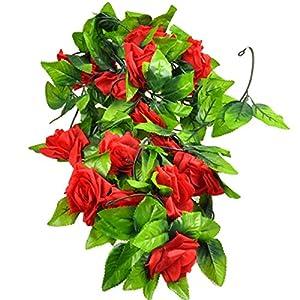 Gilroy Artificial Fake Silk Rose Flower Vine Hanging Ivy Garland Home Decor (Red) 1