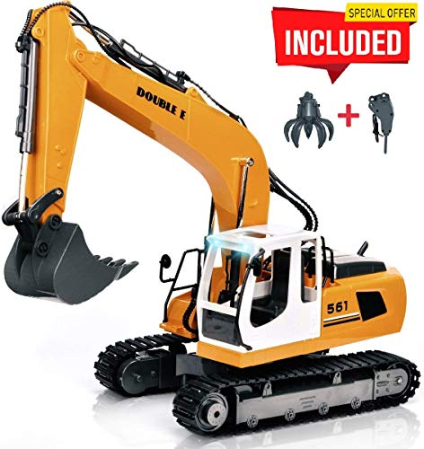 DOUBLE  E 17 Channel Full Functional Remote Control Truck Metal Shovel RC Excavator with 2 Bonus Drill and Grasp (Rc Front End Loader Truck Construction Vehicle)