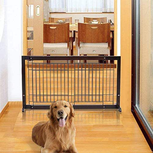 PETSJOY Indoor Safety Gate Baby Gate Folding Adjustable Wooden Pet Gate Dog Slide Gate Free Standing Step Over Gate Baby Pet Fence for Corridor, Doorway, Stairs, Extra Wide, Cherry