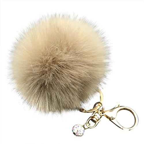 Brown Color Fur (Tenworld Faux Fur Pom Pom Keychain for Car Key Ring Handbag Tote Bag Pendant Charm Gift (Coffee))
