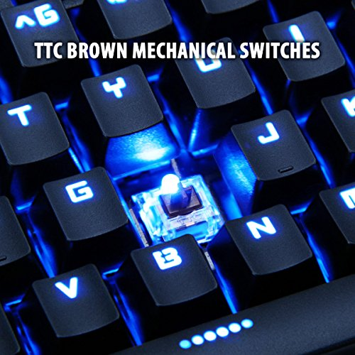 ENHANCE GX-K5 FPS Mechanical Gaming Keyboard with Blue LED Backlighting & TTC Brown Tactile Switches – Great for Counter-Strike: Global Offensive , Overwatch , Call of Duty: Black Ops III & More Games by ENHANCE (Image #3)'