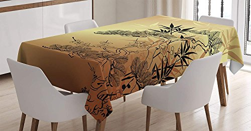 (wanxinfu Japanese Decor Square Tablecloth Asian Style Branches and Bamboo Motifs with Showy Fragrant Leaves Nature Illustration Table Cover for Kitchen Dinning Tabletop Decoration 53x53in)