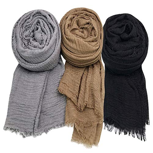 (Axe Sickle Scarf Wrap Shawl Cotton Hemp Soft Outdoor Beach for All Seasons Wrap 3PCS Women Wrap Shawls Sunscreen Stylish Scarf Lightweight Warm Big Head Scarves, Mixed Color Series A.)