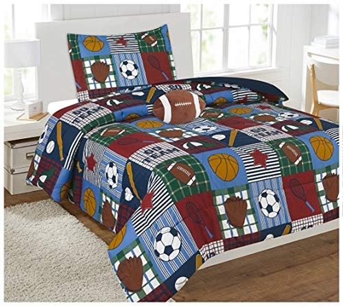 (Elegant Home Patchwork Sports Football Basketball Baseball Soccer Design 6 Piece Comforter Bedding Set for Boys/Kids Bed in a Bag with Sheet Set & Decorative Toy Pillow (Sports Patchwork, Twin Size))