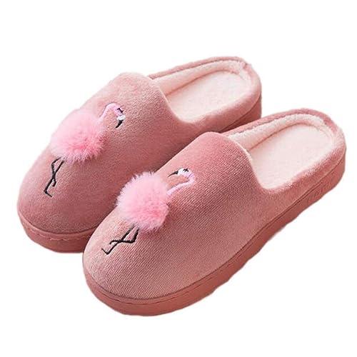 Zapatillas de casa Lindas Animal Flamingo Invierno Cálido Piel Antideslizante Interior Outdooe Zapatos de Pareja acogedoras Mujeres Hombres: Amazon.es: ...