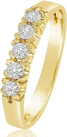 MILLE AMORI ∞ Anillo Mujer Compromiso Oro y Diamantes - Oro Amarillo 9 Kt 375 ∞ Diamantes 0.03 Kt