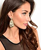 Med Basketball Wives Gold Tone Textured Hammered Drop Dangle Earring