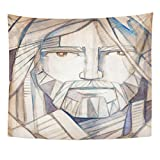 Breezat Tapestry Catholic Drawing of Jesus Christ Face Christian Home Decor Wall Hanging for Living Room Bedroom Dorm 50x60 Inches