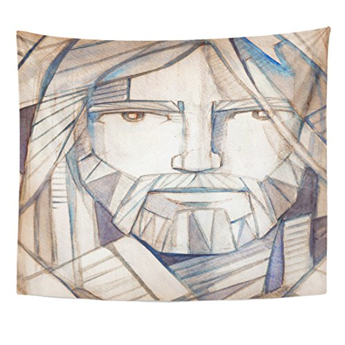 Breezat Tapestry Catholic Drawing of Jesus Christ Face Christian Home Decor Wall Hanging for Living Room Bedroom Dorm 50x60 Inches by Breezat