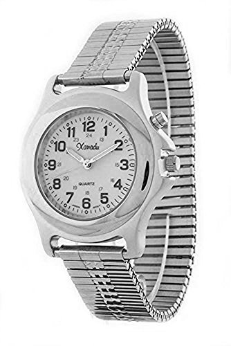 - Men's Indiglo Military Time Silver Tone Stretch Band Watch