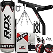 RDX Punching Bag Boxing Training, 15pc Filled 5ft 4ft Heavy Duty set, Wall Bracket Punching Gloves Steel Chain