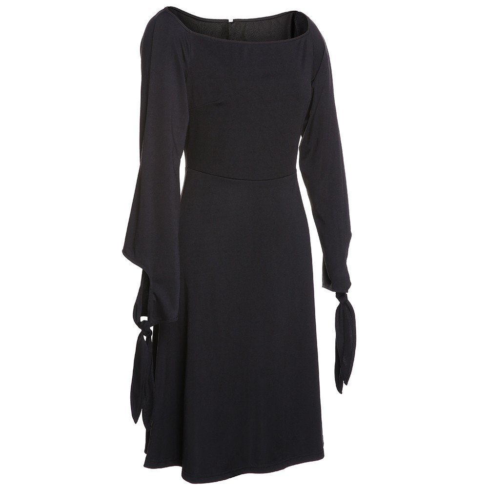 Uscharm Off Shoulder Dress Womens Ladies Knee Length Solid Color Loose Party Long Sleeve Dress