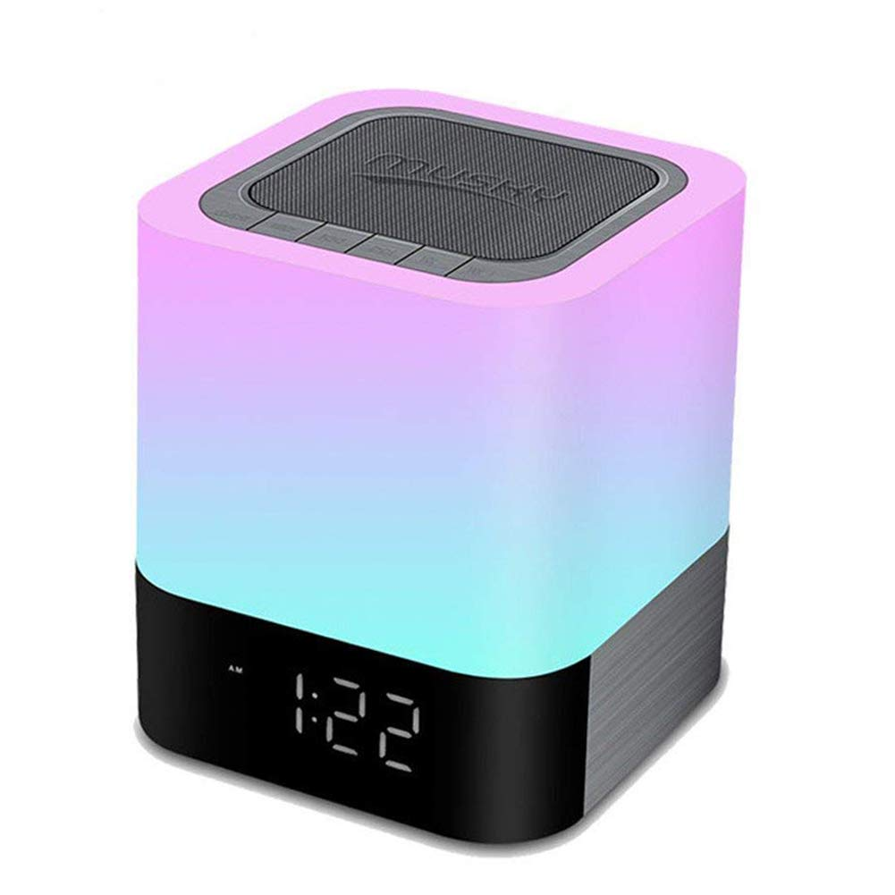 Night Light Bluetooth Speakers, Homeself Touch Sensor Bedside Lamp/MP3 Music Player Alarm Clock, Wireless Speaker with Lights, 48 RGB Multi-Color Changing LED lamp, Gifts for Women Men Kids (White)