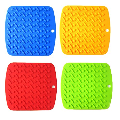 CTS Silicone Pot Holders Set of 4 Jar Opener, Trivets, Large Coaster, Spoon Rest, Flexible, Durable, Heat Resistant Mat with Basting Brushes for Home, Kitchen Utensils, Dining Usage