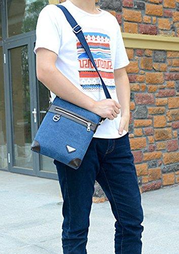 Männer Vintage-Leinwand Schulter Ipad Messenger Tote Sling Multifunktions Tasche,B-OneSize
