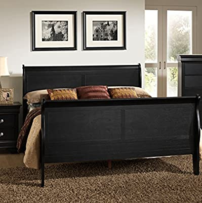 Roundhill Furniture Isony 594 Louis Philippe Style Wood Sleigh Bed, Queen, Black