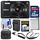 Nikon Coolpix S7000 Wi-Fi Digital Camera (Black) with 32GB Card + Case + Battery & Charger + Selfie Stick Monopod + Sling Strap Kit