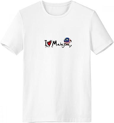 DIYthinker Amo Malasia palabra bandera ilustración del amor del corazón de cuello redondo camiseta blanca de manga corta Comfort Deportes camisetas regalo: Amazon.es: Ropa y accesorios