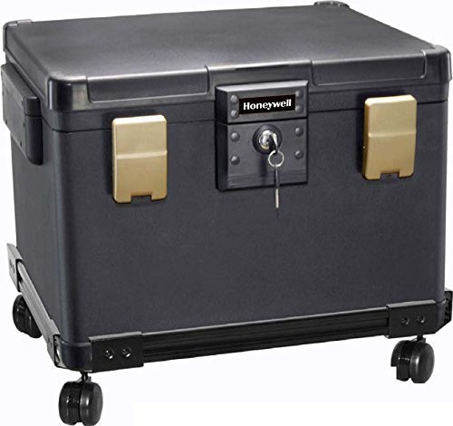 Honeywell 1.06 CuFt Key Lock Legal Size Waterproof & Fire Resistant File Security Chest with Wheel Cart