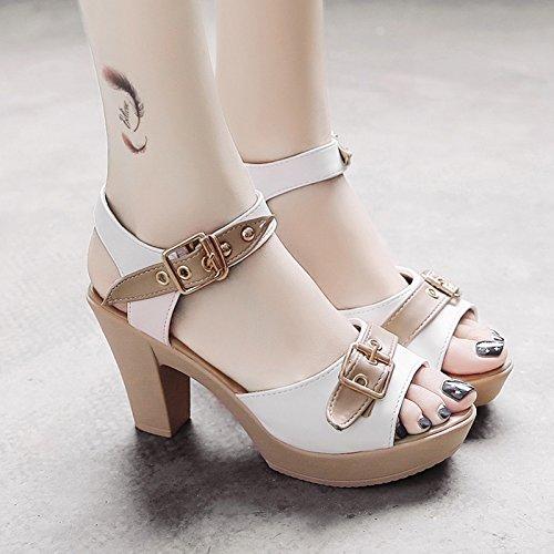 Verano Boca High White Waterprotable Heeled tacón Pescado UE mujer Hebilla de zapatos de sandalias RUGAI moda zapatos de 15AzxwBZq