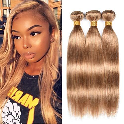 WOME Hair Peruvian 100% Unprocessed Virgin Human Hair Bundles 3 Bundles Honey Blonde Hair Weaves Extentions(14 16 18inch, Honey Blonde 27#)