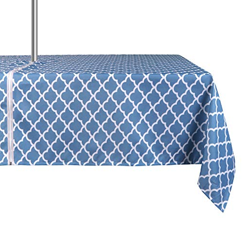 ColorBird Elegant Trellis Tablecloth Waterproof Spillproof Polyester Fabric Table Cover with Zipper Umbrella Hole for Patio Garden Tabletop Decor, 60 x 84 Inch, Zippered, Stone Blue (Table Picnic Stone)