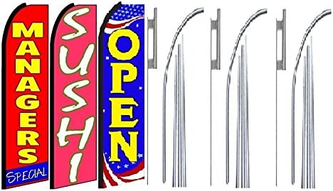 Managers Special,Sushi Open King Swooper Feather Flag Sign Kit with Pole and Ground Spike Pack of 3