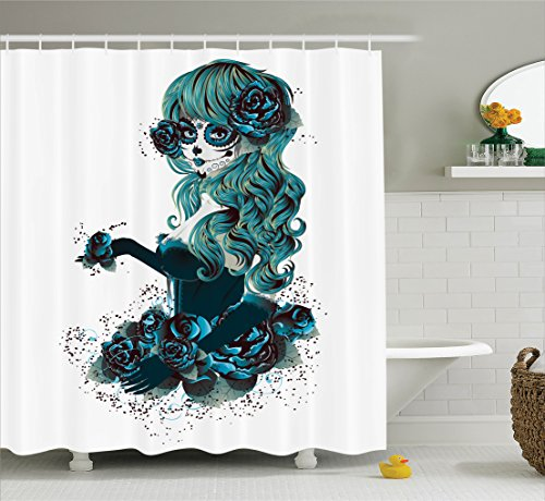 Skull Shower Curtain by Ambesonne, Vintage Sugar Skull Girl Day of the Dead Bride with Dark Color Roses Graphic, Fabric Bathroom Decor Set with Hooks, 84 Inches Extra Long, Petrol Blue White - Day Of The Dead Clothes Ideas