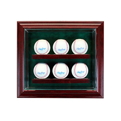Multiple Baseball Display Case (Glass 6 Ball Baseball Cabinet Style Display Case)
