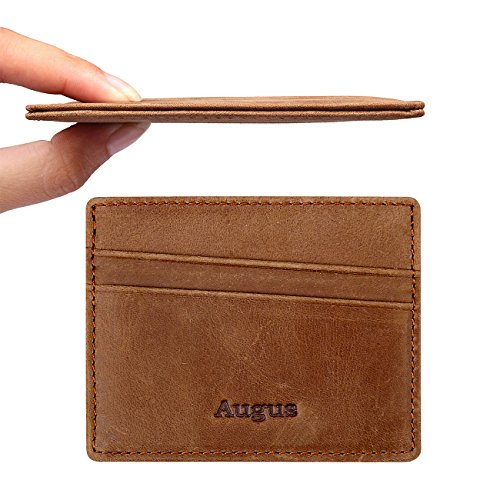 Augus leather Card Holder Front Pocket Wallet with RFID Blocking ()