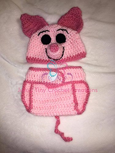 Crocheted Handmade Baby Newborn Winnie the Pooh Piglet-Inspired Outfit - Photo Prop - Halloween Costume - Baby Shower Gift - Pig - Baby Clothes - Hat - Diaper Cover - (Piglet Newborn Costume)