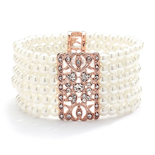 Mariell Rose Gold Vintage Ivory Glass Pearl & Crystal Stretch Bracelet - 6-Row Art Deco Bridal Jewelry ()