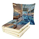 Quilt Dual-Use Pillow Spa Decor Indoor Swimming Pool with Relaxing Long Seats Calming Image Multifunctional Air-Conditioning Quilt Turquoise Light Blue and White