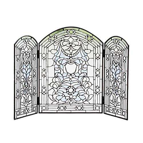 (Makenier Vintage Tiffany Style Stained Art Glass Decorative 3-Panel Fireplace Folding Screen Firewall)
