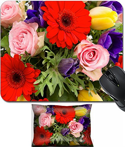 MSD Mouse Wrist Rest and Small Mousepad Set, 2pc Wrist Support design 26379719 closeup of colorful spring flowers bouquet pink roses red gerbera yellow tulips blue anemone