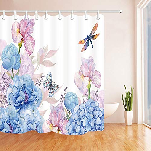 - SZZWY Butterfly and Dragonfly on Peony Flower and Iris Shower Curtain 3D Printing Waterproof Coated Polyester Fabric Bathroom with 12 Hooks 71 inches