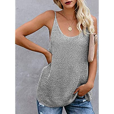 MEROKEETY Women's Knit Scoop Neck Tank Top Sleeveless Casual Loose Cami Vest Shirts at Women's Clothing store