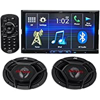 Package: JVC KW-V420BT 7 Double-Din DVD Receiver with Built-In Bluetooth, USB, and iPhone/Android Controls + Pair of JVC CS-DR6930 3-Way Car Speakers Totaling 1000 Watt Measure 6X9