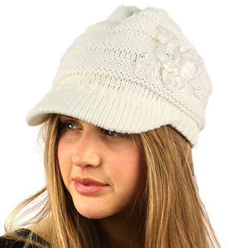 SK Hat shop Winter Thick Floral Chunky Stretchy Knit Beanie Skully Visor Jeep Hat Cap Ivory